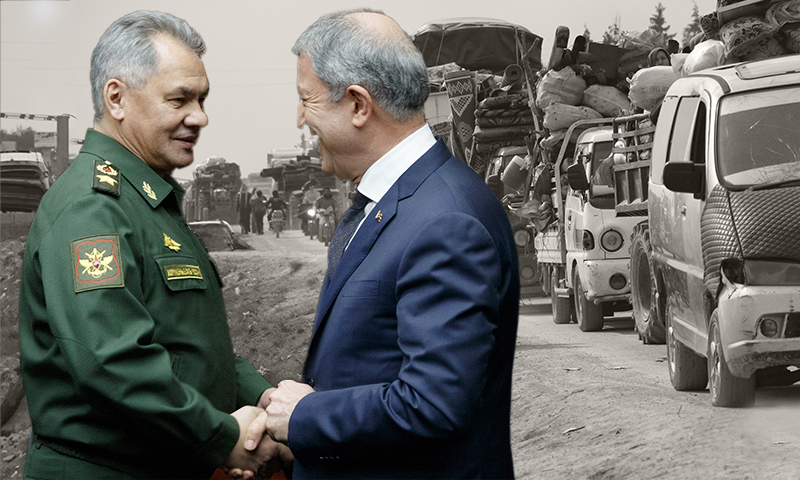 Turkey's National Defense Minister Hulusi Akar and his Russian counterpart, Sergei Shoyogo, and IDPs from Idlib province towards the Syrian-Turkish border (edited by Enab Baladi)