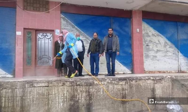 The spray of disinfectant materials against the novel coronavirus (COVID-19) in al-Qunaytirah province – 22 March 2020 (Enab Baladi)