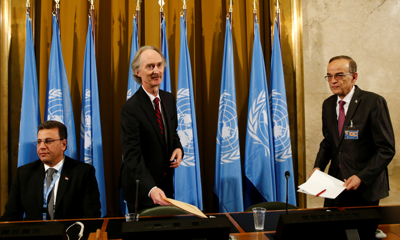 UN Special Envoy to Syria, Geir Pedersen and the two Joint Heads (Ahmad al-Kuzbari, from the regime delegation and Hadi al-Bahra, from the opposition delegation, (Reuters)