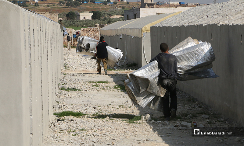 The construction of 381 housing units to replace internally displaced people (IDPs) tents in Ka'ibah camp of northern rural Aleppo – 7 April 2020 (Enab Baladi)