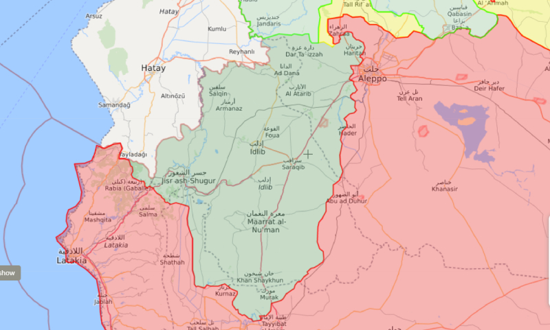 Map showing the military influence of the opposition factions in Idlib and rural Aleppo (green represents the opposition-held areas) - 26 April 2019 (liveuamap)