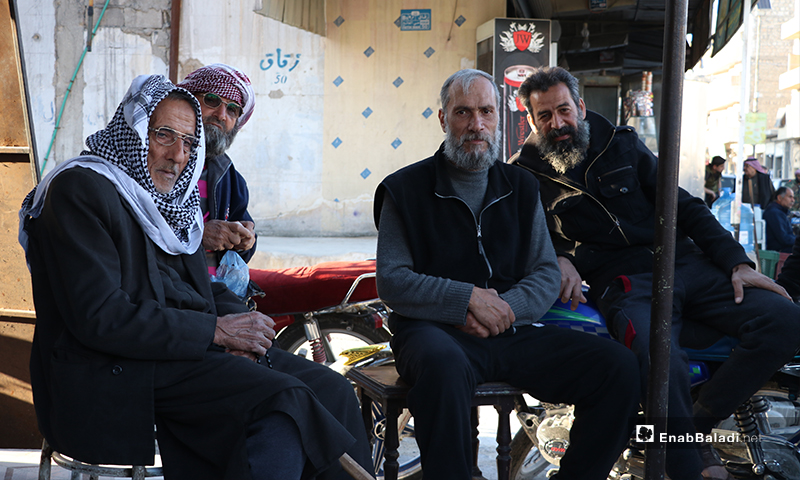 Residents of al-Bab city in rural Aleppo waiting for the call to sunset prayer for iftar –26 April 2020 (Enab Baladi)