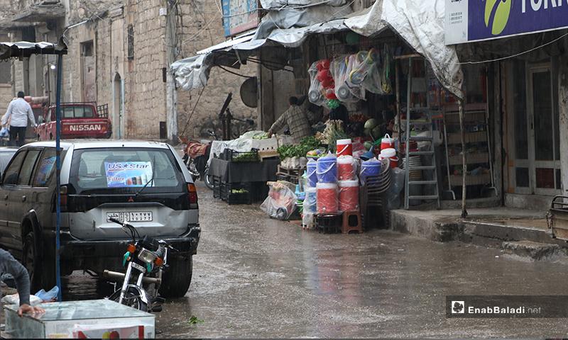 Shops in the rainy Ramadan atmosphere in al-Bab city of rural Aleppo – 24 April 2020 (Enab Baladi)