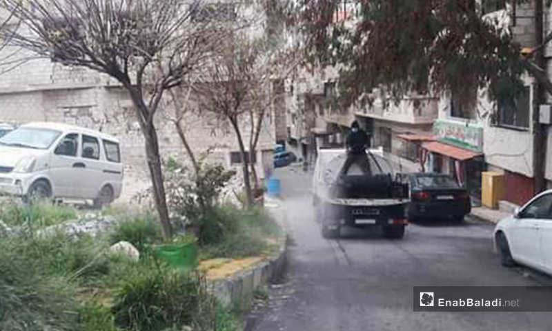 Disinfecting operations as part of regime's government preventive measures against the coronavirus in al-Qunaytirah province - 24 March 2020 (Enab Baladi)