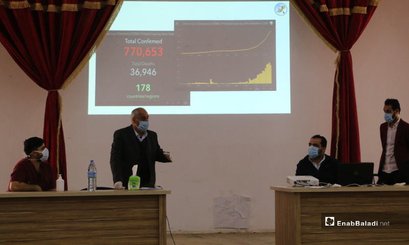 Awareness lecture on the novel coronavirus (COVID-19), the proper means of prevention, and how to avoid infection in Akhtarin city of northern rural Aleppo – 05 April 2020 (Enab Baladi)