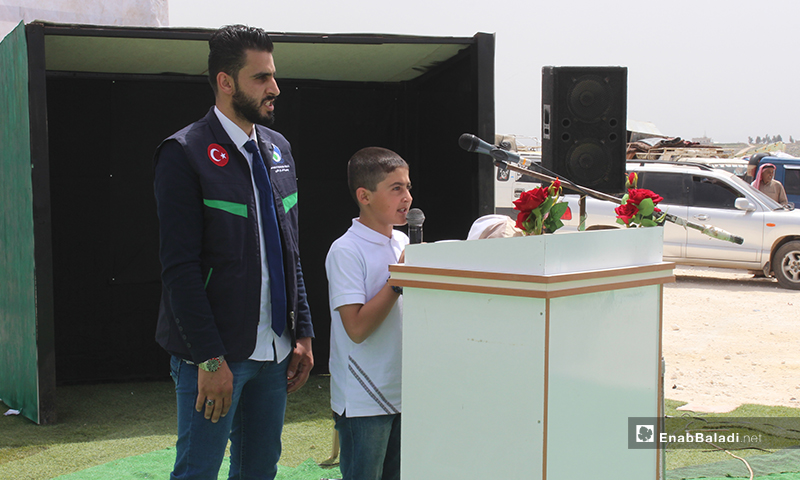 The opening ceremony of Sabah al-Ahmad Charitable Village near Harbanoush town in northern Idlib, and the delivery of 300 concrete housing units for the internally displaced people (IDPs), each of which includes two rooms. Meanwhile, work proceeds in the village for the equipment of 800 housing units – 23 April 2020 (Enab Baladi)
