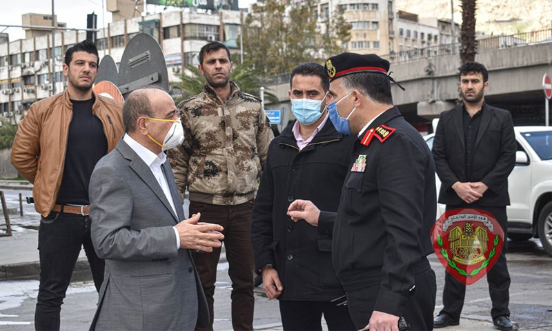 Syria's Interior Minister Mohammad al-Rahmoun, while in an inspection tour in Damascus city- 03 April 2020 (Ministry of Interior Facebook page)