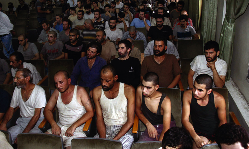 Syrian detainees before being released by the Syrian regime – September 2012 (AP)