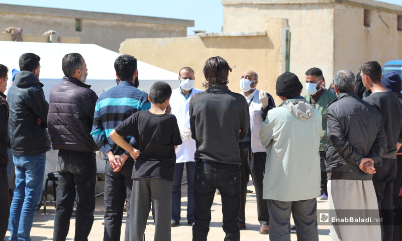 A part of Coronavirus awareness campaigns carried out by the civil bodies and volunteer teams in Qabtan and al-Hardanah camps, north of Aleppo, to emphasize domestic quarantine and prevent coronavirus spread - 24 March 2020 (Enab Baladi)