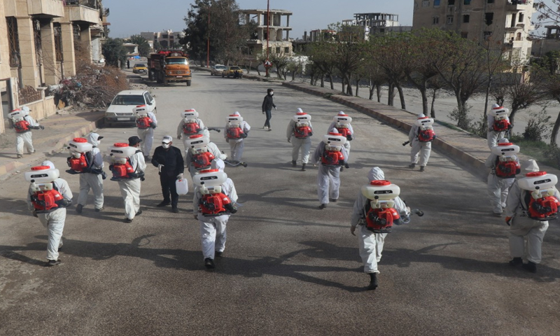 """The sterilization and cleaning campaign in the city of Raqqa to thwart the """"Coronavirus""""- 24 February 2020 (Media Office of the Raqqa Civil Council)"""