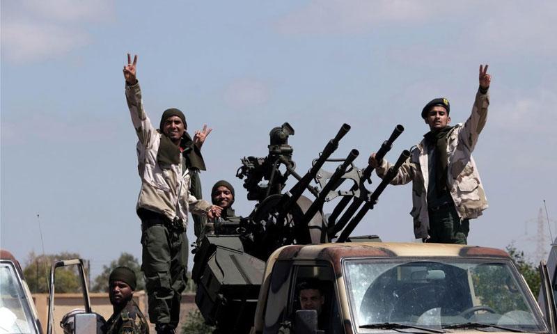 "Members of the Libyan ""National Army"" (LNA) of the retired Major General Khalifa Haftar, heading from Benghazi to Tarablus in Libya - 07 April 2019 (Reuters)"