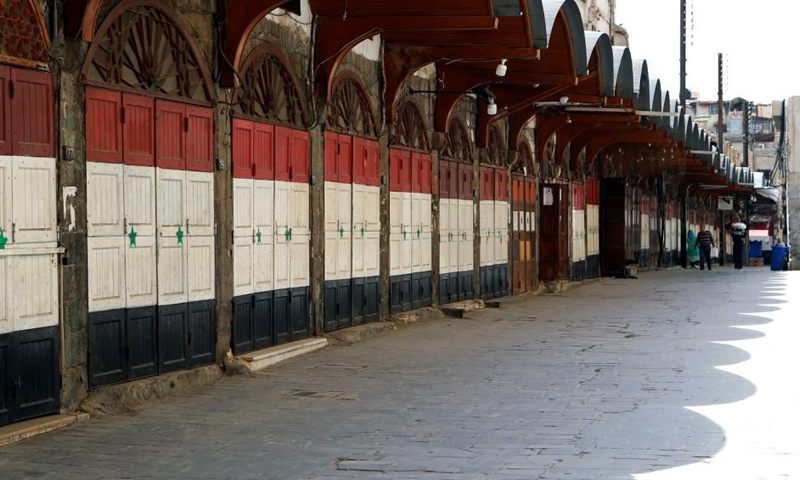 Closed shops in front of the Umayyad Mosque in the center of the old city in Damascus (Reuters)