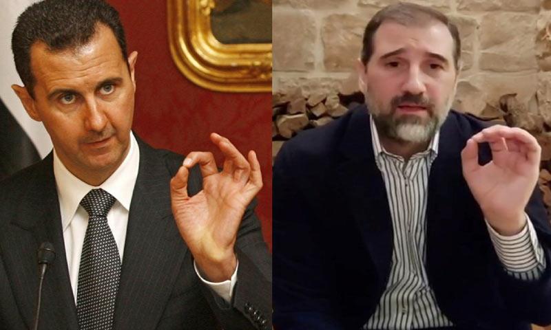 The Head of the Syrian regime, Bashar al-Assad and wealthy businessman, Rami Makhlouf (edited by Enab Baladi)