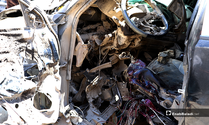 """Traces of blood in the exploded vehicle of a member of the """"Sultan Murad"""" Division, affiliated to the Turkey-backed Syrian National Army (SNA) in al-Bab city, in the north-eastern countryside of Aleppo province – 25 May 2020 (Enab Baladi / Asim Melhem)"""