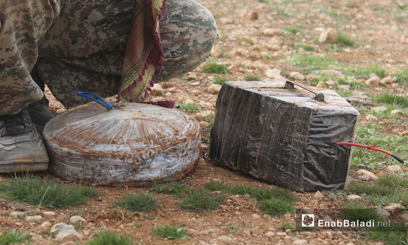 """One of the mines laid by """"ISIS"""" fighters in al-Bab city in rural Aleppo- 12 February 2017 (Enab Baladi)"""