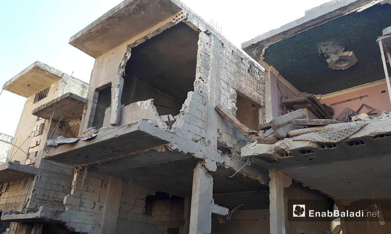 The destruction caused by the military aircraft bombardment on al-Houla city, northern Homs countryside - 22 August 2017 (Enab Baladi)