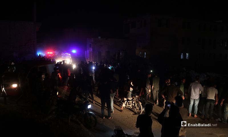 Military police vehicles and ambulances in al-Bab city arriving at the IED explosion site – 14 May 2020 (Enab Baladi/Asim Melhem)