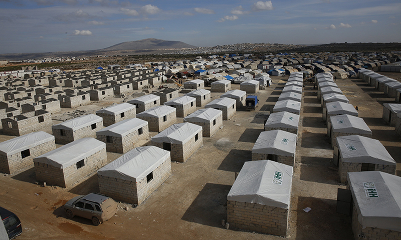 Concrete housing units established by the Turkish Humanitarian Relief Foundation (İHH) for Idlib's displaced people (İHH)