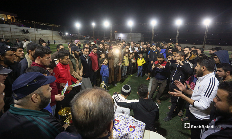 Honoring the teams of Deir Hassan and Akrabat for winning the first and second place in the final match of the North Stars League in Kah stadium in Idlib – 03 May 2020 (Enab Baladi)