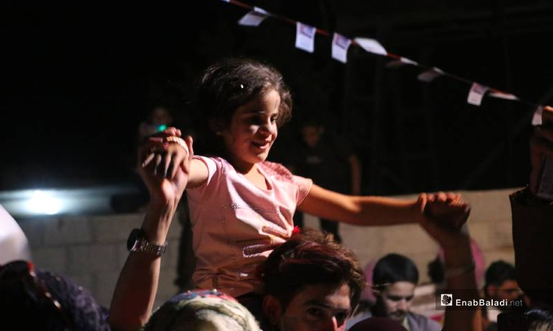 A child enjoying the Eid al-Fitr celebrations in al-Azraq camp for internally displaced people, near al-Bab city – 25 May 2020 (Enab Baladi)