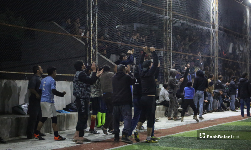 The joy of the coaching staff and the stadium audience with the goal scored in the final match of the North Stars League between Deir Hassan and Akrabat teams in Kah area in Idlib – 03 May 2020 (Enab Baladi)