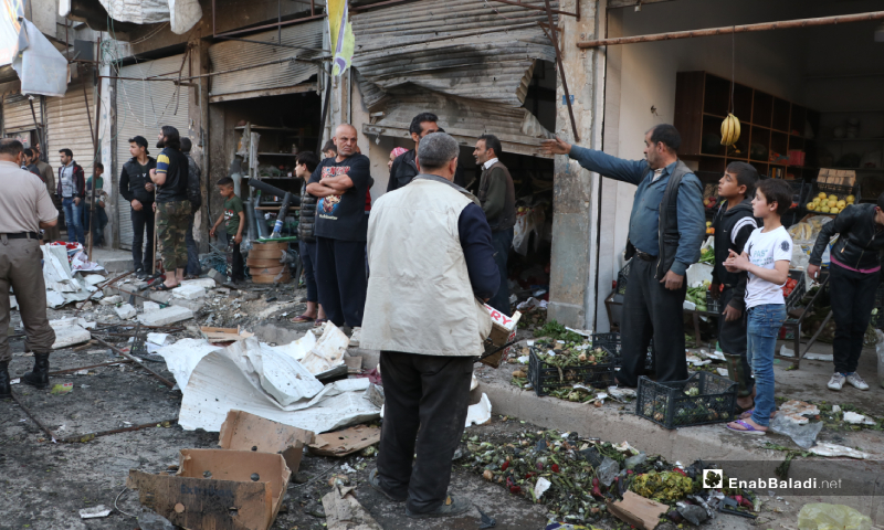 The aftermath of an IED explosion in one of the vegetables selling stores in al-Raie street of al-Bab city, eastern Aleppo – 10 May 2020 (Enab Baladi)