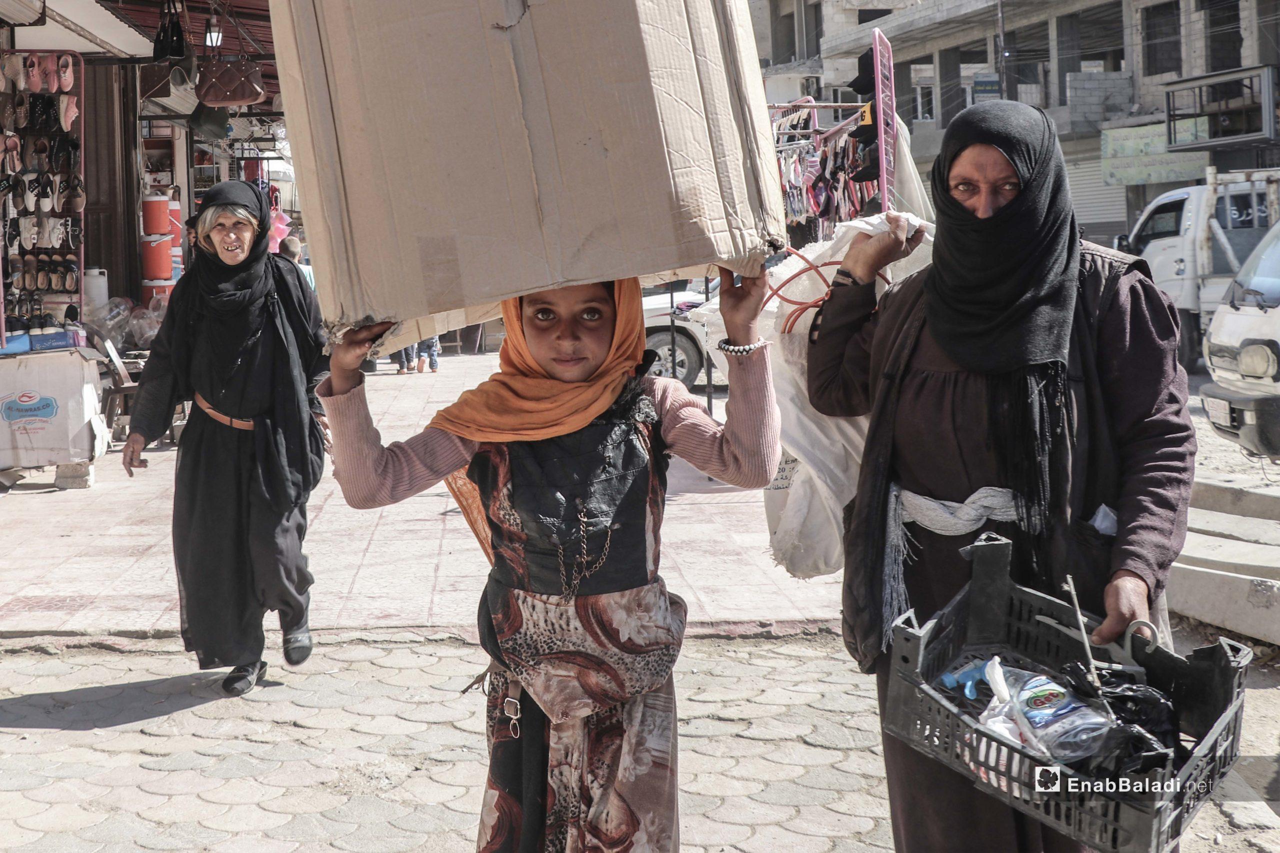 Child labor in al-Raqqa city's street markets in northern Syria – 05 June 2020 (Enab Baladi – Abdul Aziz al-Saleh)
