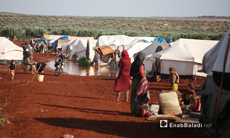 "The ""Sahl al-Khair"" camp for Syrian internally displaced people (IDPs) after the rainstorm near Kafr Bunni in northern Idlib countryside – 19 June 2020  (Enab Baladi / Yousef Ghuraibi)"