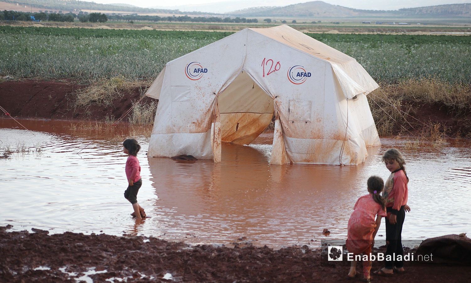 """One of the tents flooded by stormwater in """"Sahl al-Khair"""" camp for Syrian internally displaced people (IDPs) near Kafr Bunni in northern Idlib countryside – 19 June 2020  (Enab Baladi / Yousef Ghuraibi)"""