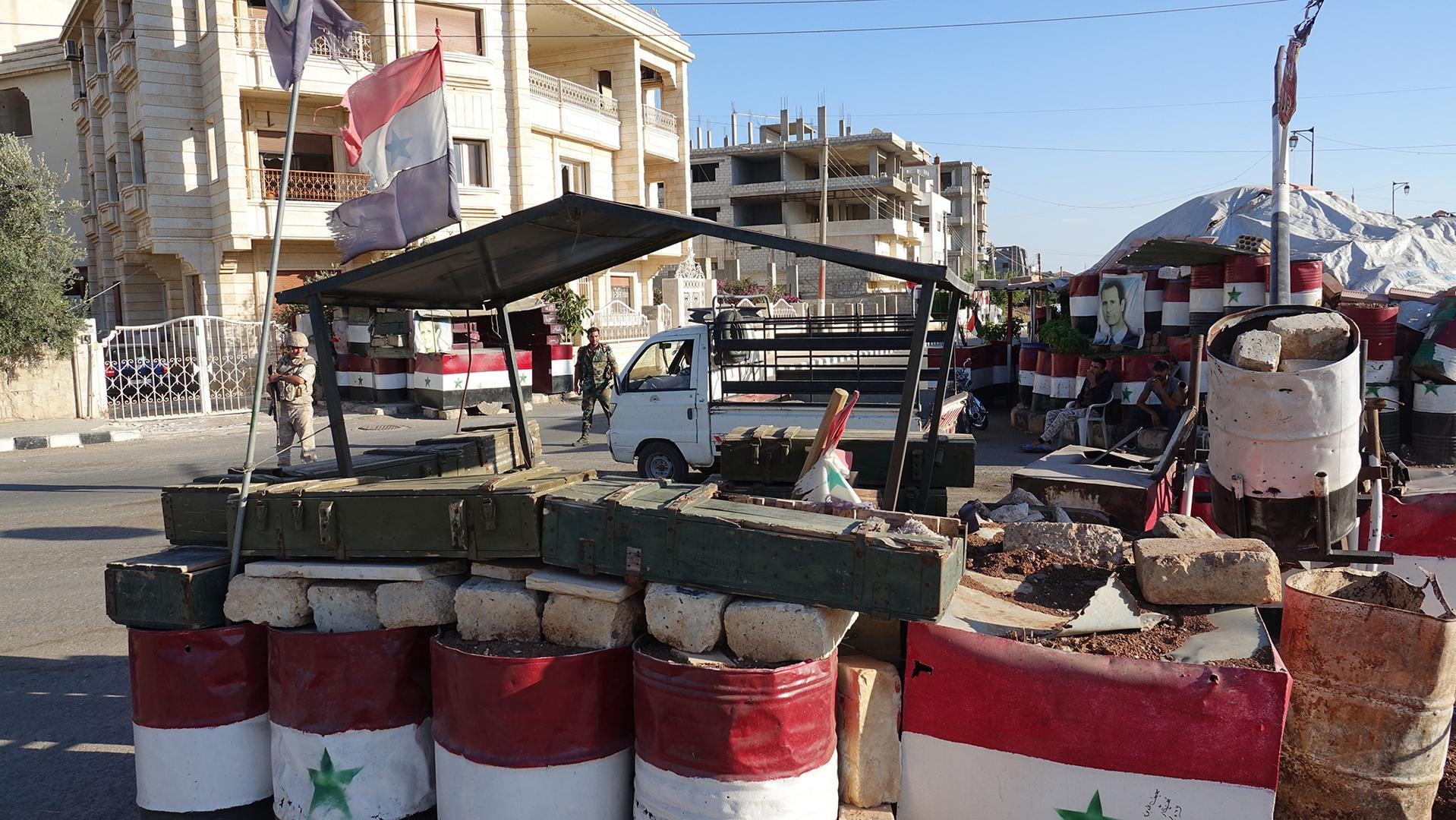 A Syrian regime's checkpoint in Daraa 2018 (Human Rights Watch)