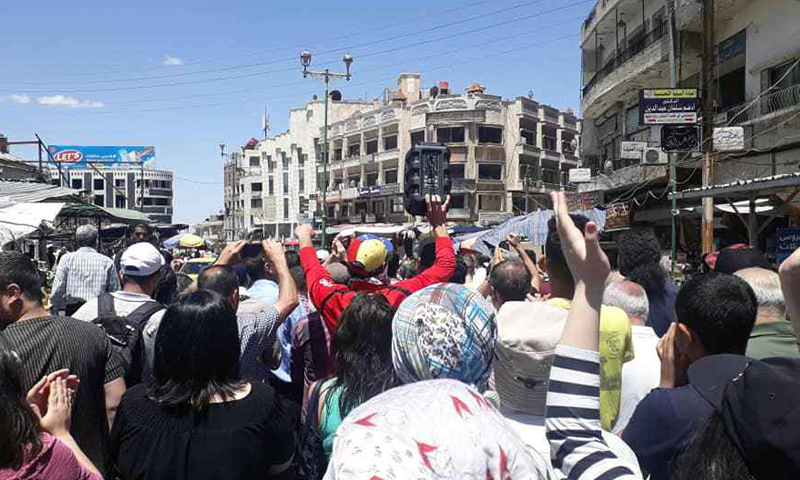 People of As-Suwayda held demonstrations, calling for the fall of the Syrian regime - 13 June 2020 ( We want to live Facebook page)