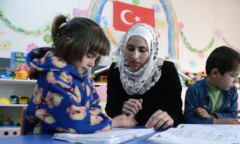Syrian students learning Turkish language at a Turkish school - 2018 (Al-Araby Al-Jadeed )
