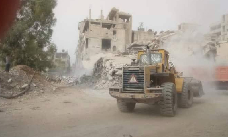 The removal of rubble in the Yarmouk Camp (Action Group for the Palestinians of Syria (AGPS) Facebook account)