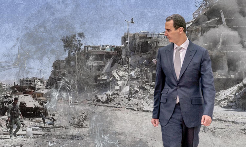 Bashar al-Assad in Yarmouk camp (Edited by Enab Baladi)