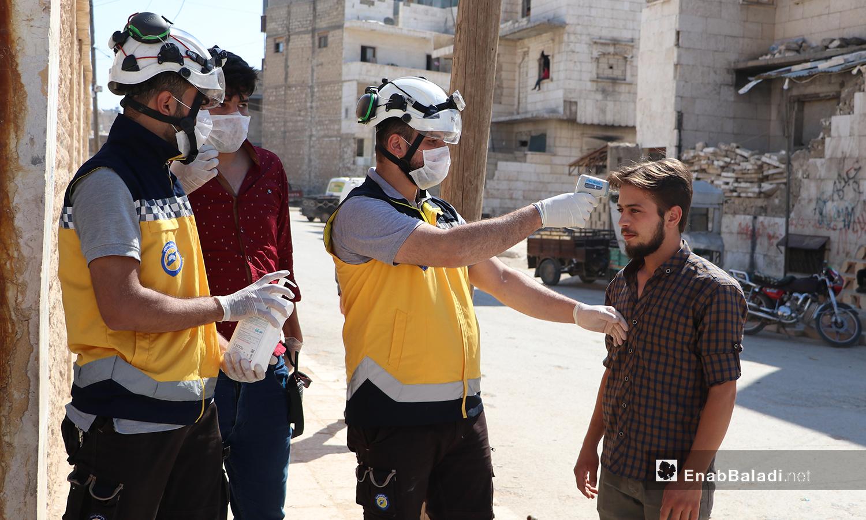 The coronavirus (COVID-19) precautionary measures during the high school certificate exams (the Baccalaureate) in al-Bab city of northern Aleppo countryside – 12 July 2020 (Enab Baladi / Asim Melhem)