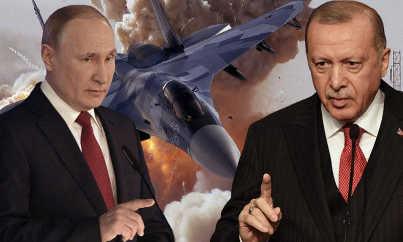 Turkish President Recep Tayyip Erdoğan and Russian President Vladimir Putin (Edited by Enab Baladi)