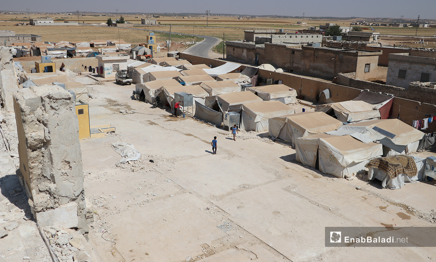 An aerial photo of one side of Qibtan Camp for internally displaced people (IDPs) near Akhtarin town in northern Aleppo countryside – 17 July 2020 (Enab Baladi / Asim Melhem)