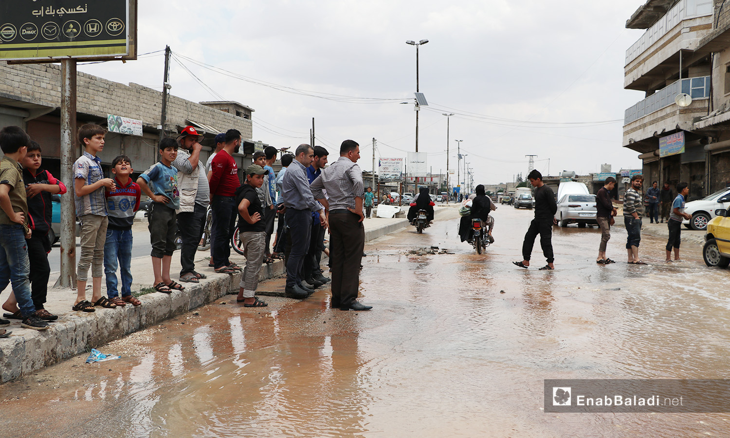 The overflowing of water due to the breakdowns of the water pipes system in al-Bab city of northern Aleppo countryside – 20 June 2020 (Enab Baladi / Asim Melhem)
