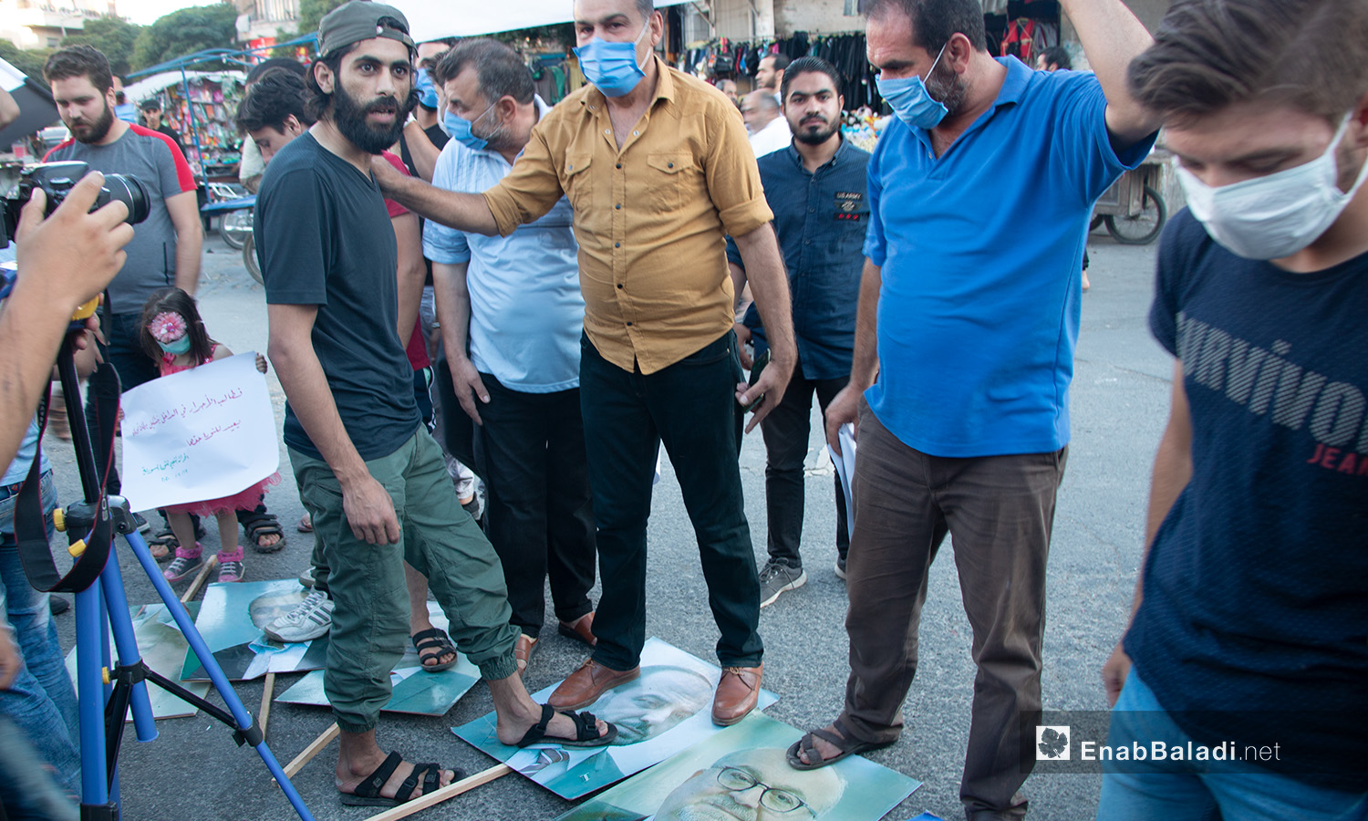 A protest stand in Idlib province against the National Coalition of Syrian Revolution and Opposition Forces and al-Assad's gangs – 17 July 2020 (Enab Baladi / Anas al-Khouli)