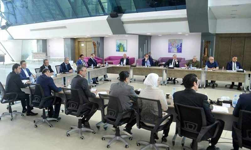 """Syria's Prime Minister, Hussein Arnous, with members of Damascus Cham Holding Company to discuss the """"Marota City"""" project - 25 June 2020 (Marota City)"""