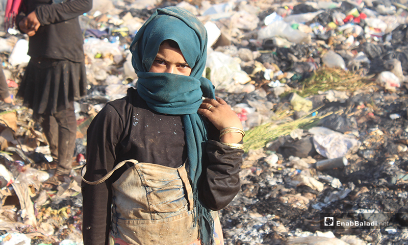 A Syrian child collect scrap materials in a waste dump near the town of Qah on the Syrian-Turkish border - 1 August 2020 (Enab Baladi)
