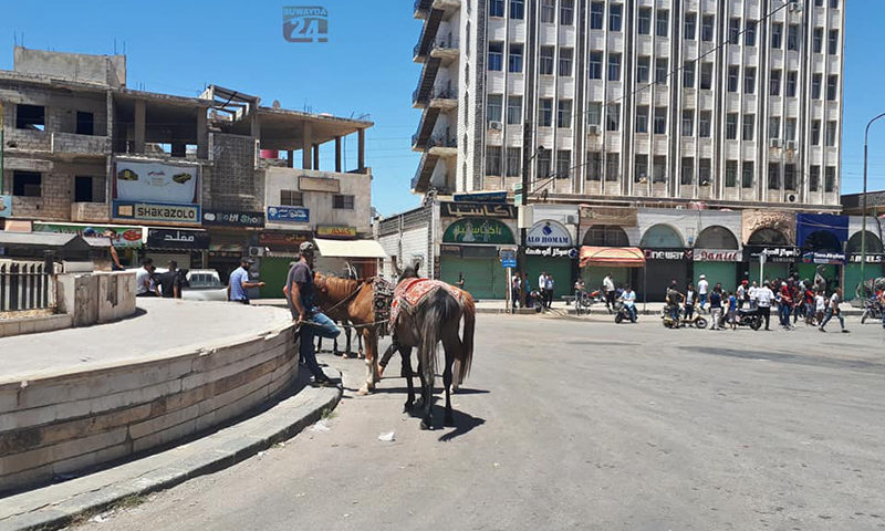 Center of a roundabout in the city of As-Suwayda (Suwayda 24)