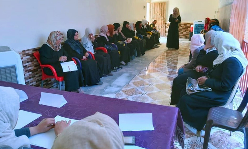 """A dialogue session entitled """"Women's Participation in the labor market"""" held by the """"Women Development Center"""" (Raqqa Civil Council)"""