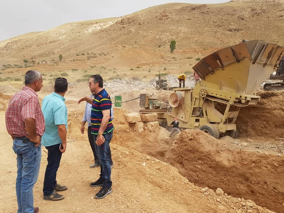 The General Manager of the General Company for Construction and Engineering Studies, Amer Hilal and other officials at a tour in the village of Bassima in Wadi Barada to oversee the demolition operations - 08 June 2019 (The General Company's Facebook account)