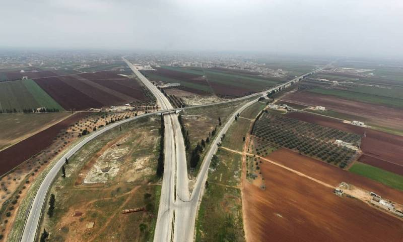 The intersection of the M4 and the M5 international highways in Saraqib in Idlib countryside (The coordination of the revolution in Binnish- Mohammed Haj Kaddour)
