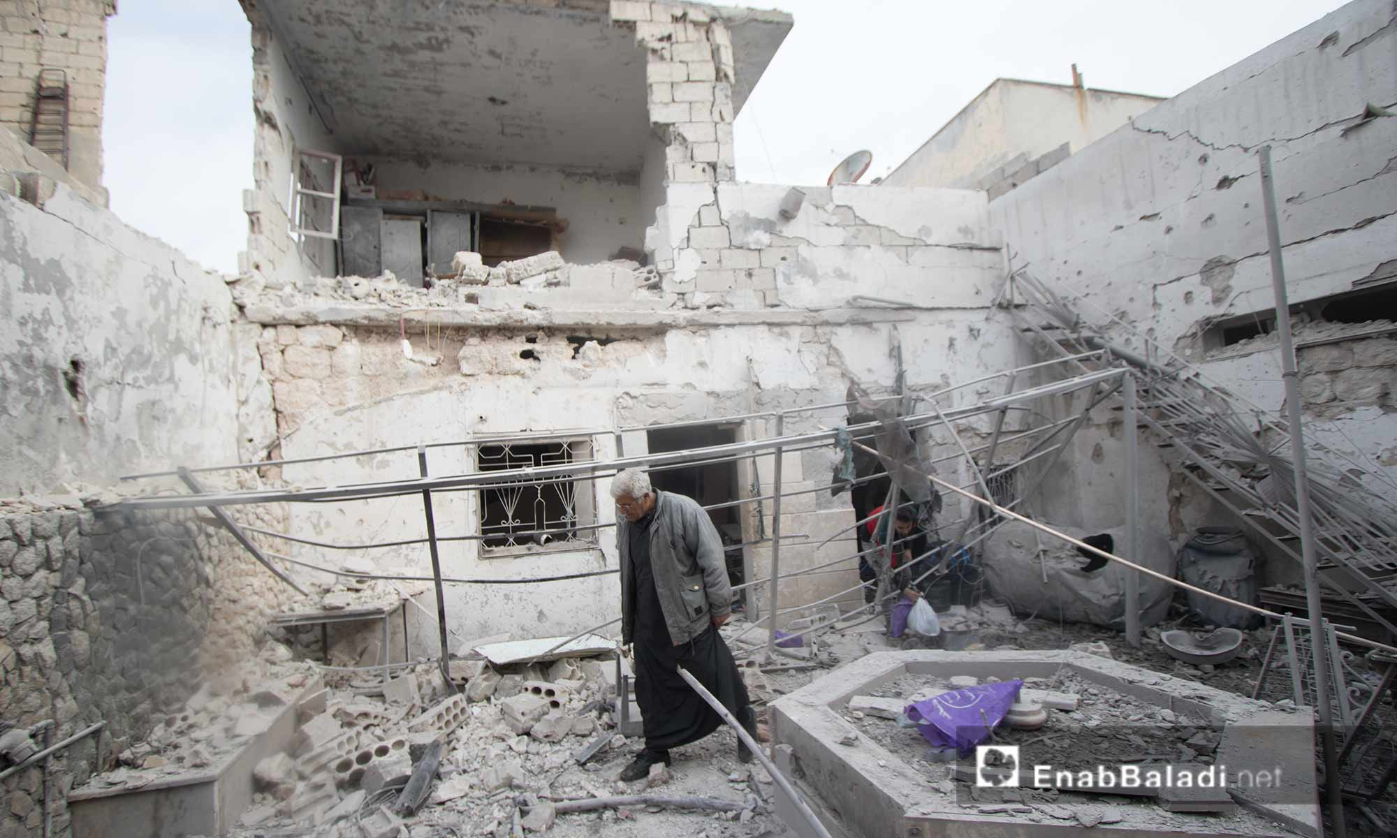 The aftermath of the aerial bombing on residential neighborhoods and service centers in Saraqib city, eastern Idlib - 10 March 2019 (Enab Baladi)