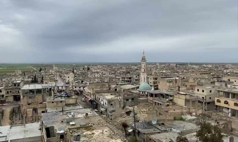 An aerial photo of Saraqib city in eastern Idlib countryside - 07 February 2020 (Oleg Blokhin Telegram account)