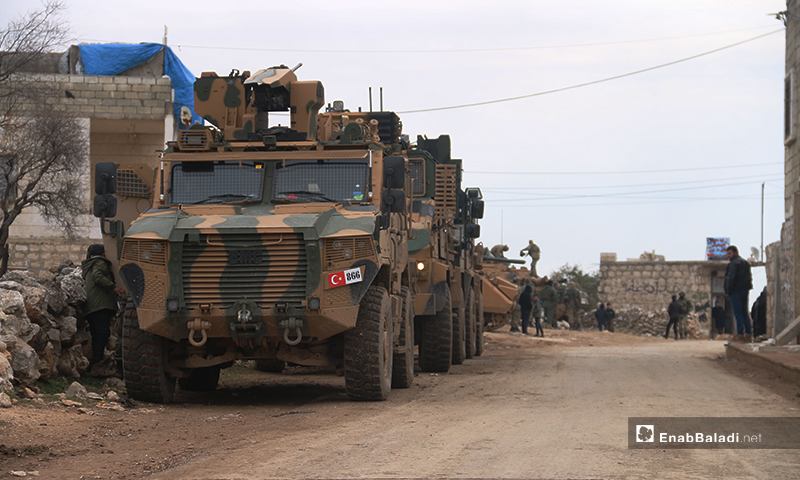 Turkish forces while establishing a new military post for the Turkish army in Termaneen town, northern Idlib - 15 February 2020 (Enab Baladi)