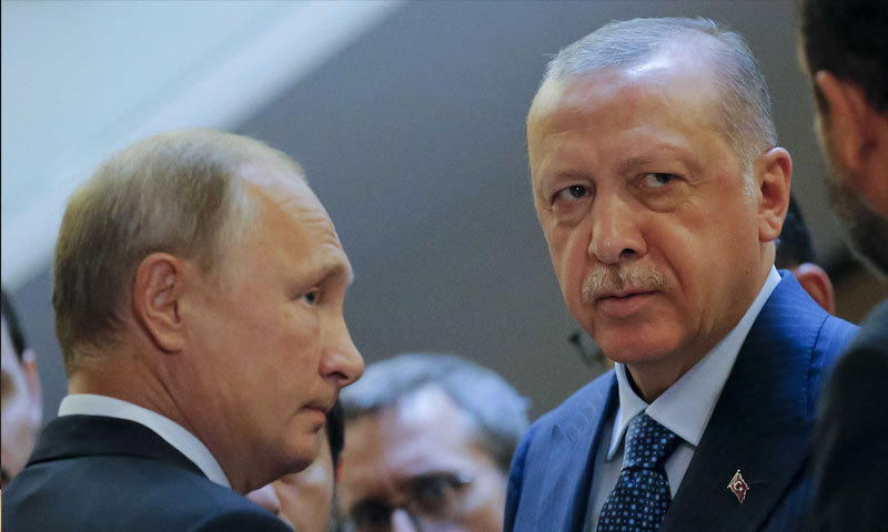 Turkish President Recep Tayyip Erdogan and his Russian counterpart Vladimir Putin in a previous meeting - 2019 (Anadolu Agency)