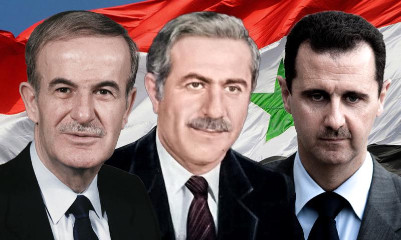 The head of the Syrian regime, Bashar al-Assad, the former president Hafez al-Assad, and the Syrian Baathist leader Izz al-Din Nasser in between (edited by Enab Baladi)